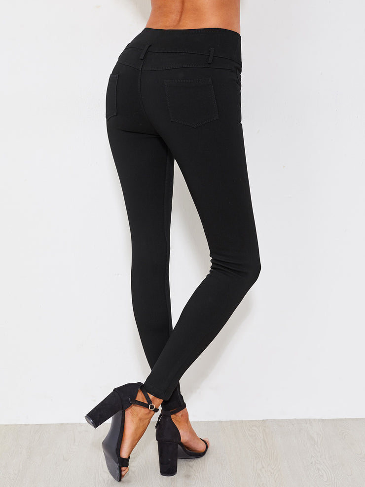 Classic Black High Waist Button Fly Skinny Jeans