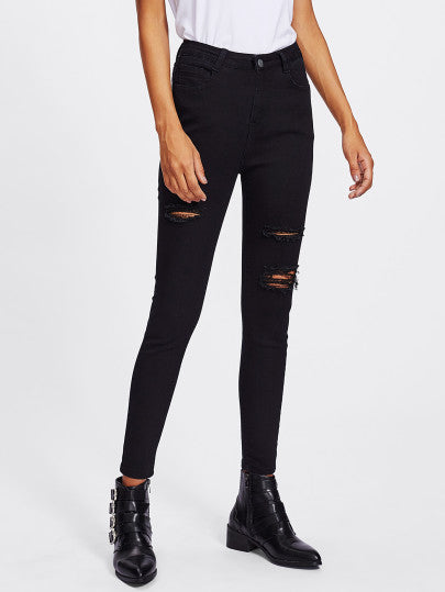Black Ripped High Waist Skinny Jeans
