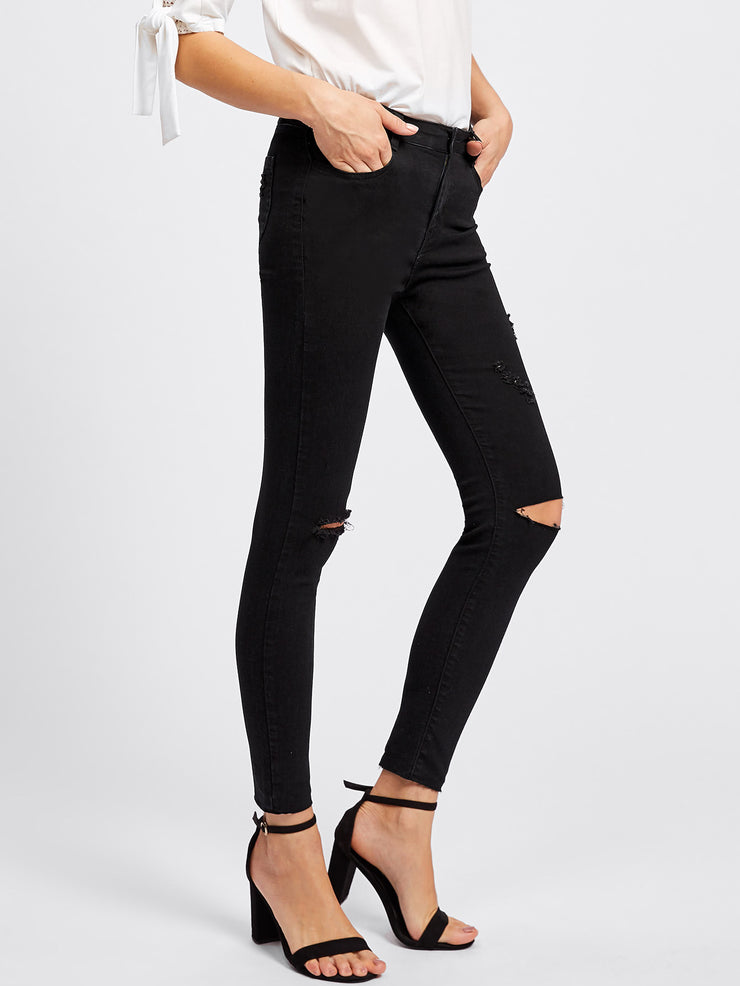 Black Ripped Mid Rise Skinny Jeans