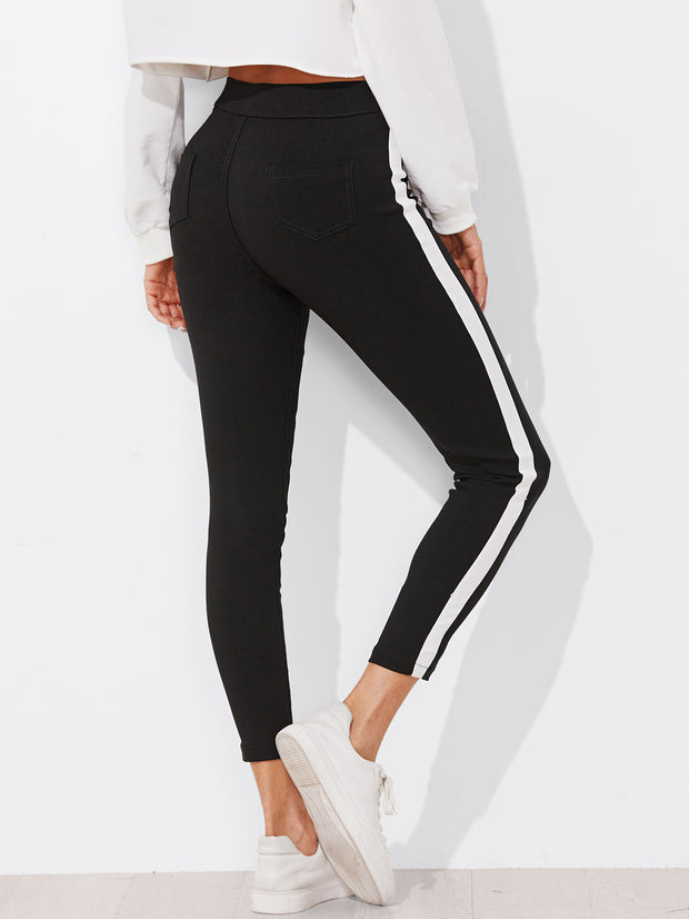 Black And White Striped Skinny Ankle Jeans