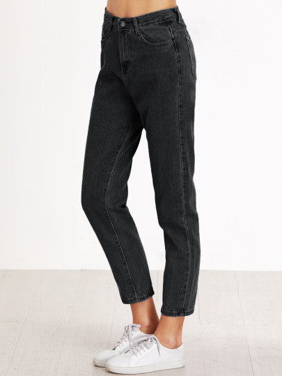 High Waist Baggy Fit Button Fly Jeans