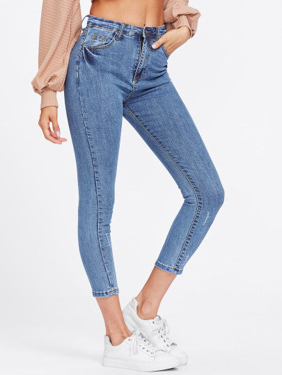 Blue Washed Ankle High Waist Skinny Jeans