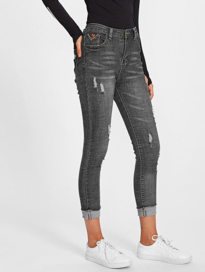 Rolled Dark Grey Ripped High Waist Jeans