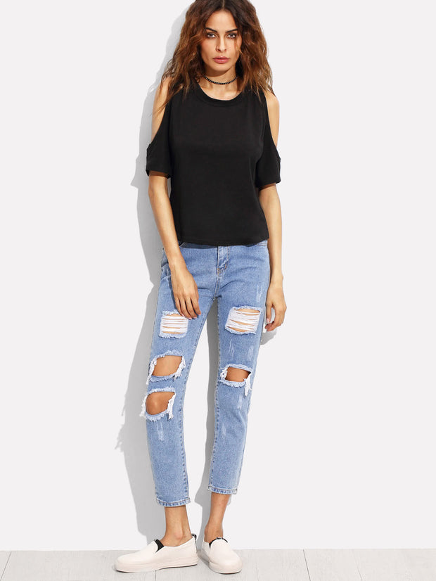 Light Blue Washed Ripped Ankle Jeans