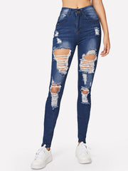 Dark Blue Faded Ripped High Waist Skinny Jeans