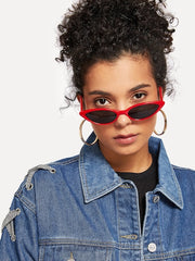 Red Skinny Cat Eye Sunglasses