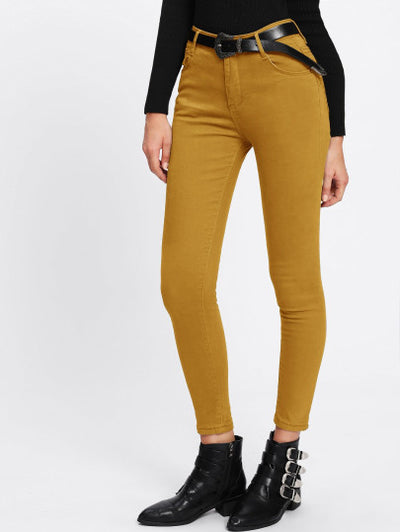 Yellow Skinny Fit Ankle Jeans