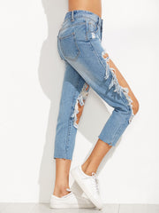 Blue Faded Mid Rise Ankle Length Ripped Jeans