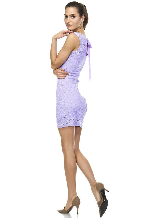 Sexy Lilac Sleeveless Lace Bodycon Dress