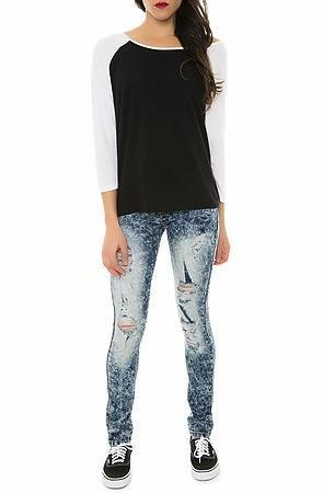 Faded Dark Blue Ripped Skinny Jeans