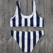 Blue & White Striped Bikini Set