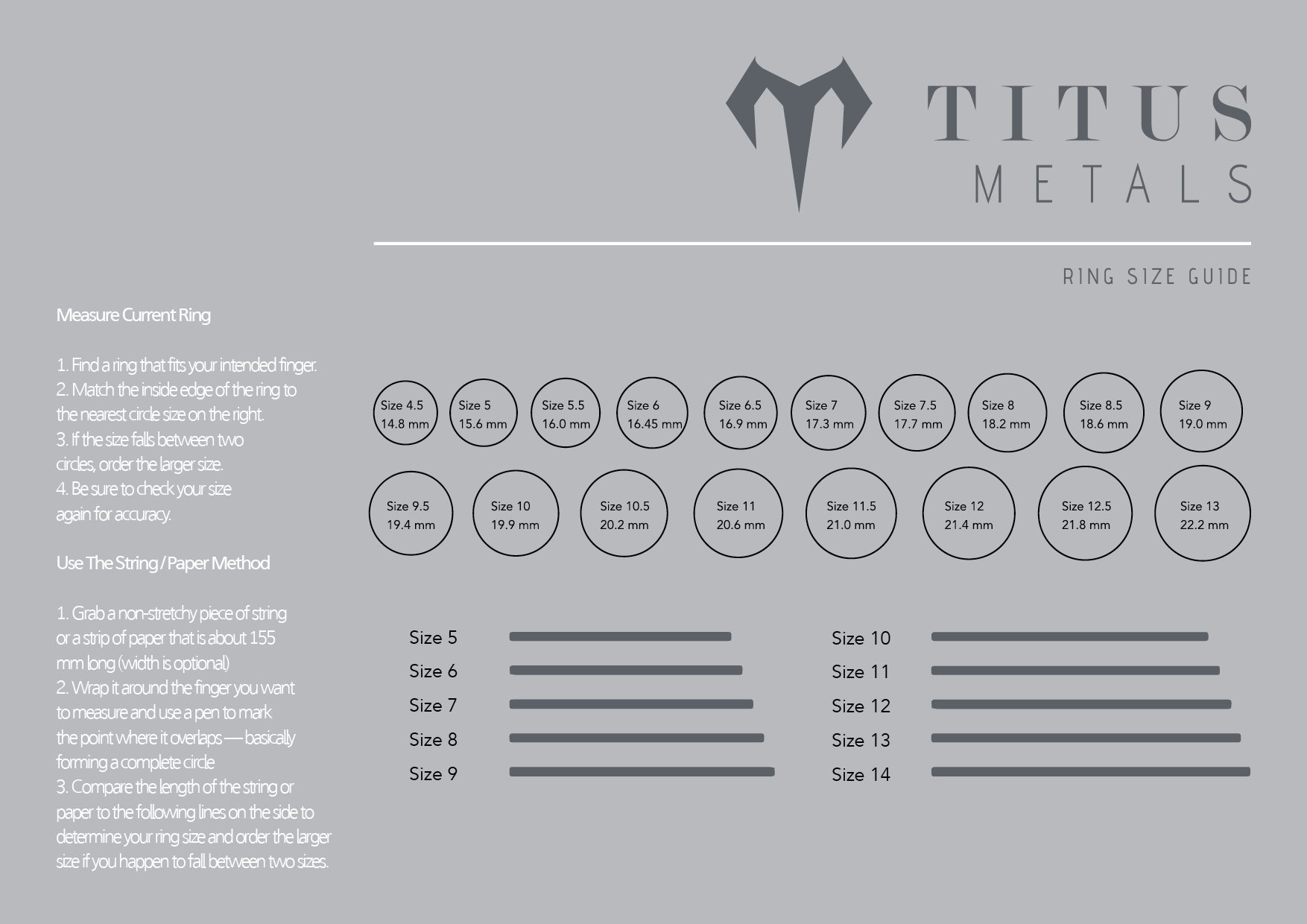 Titus Metals Ring Size Guide Chart