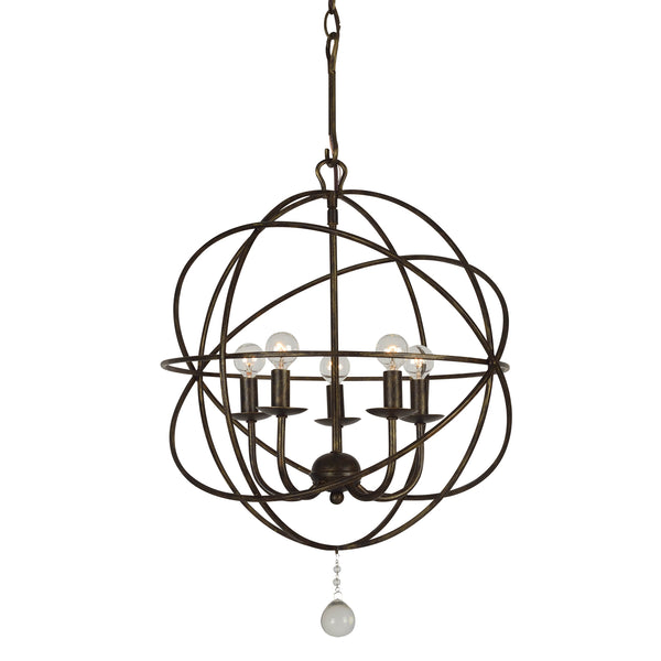 Crystorama 9224-EB Solaris Five Light Mini Chandelier