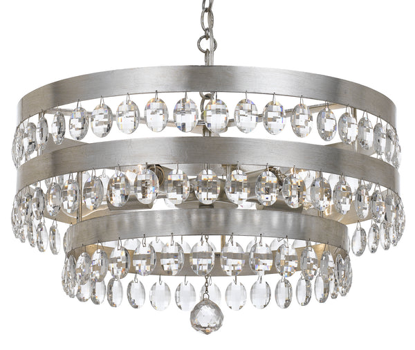Crystorama 6106-SA Perla Five Light Chandelier