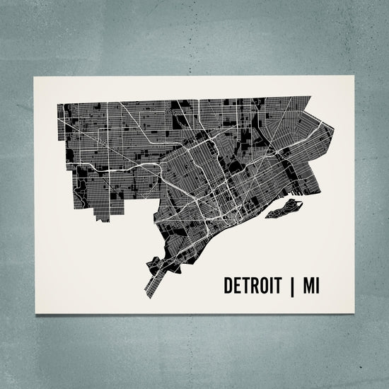 "18"" x 24"" Detroit Neighborhood Map Poster - White - Pure Detroit"
