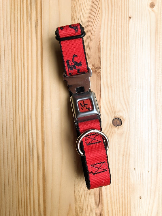 Spirit of Detroit Dog Collar / Black + Red