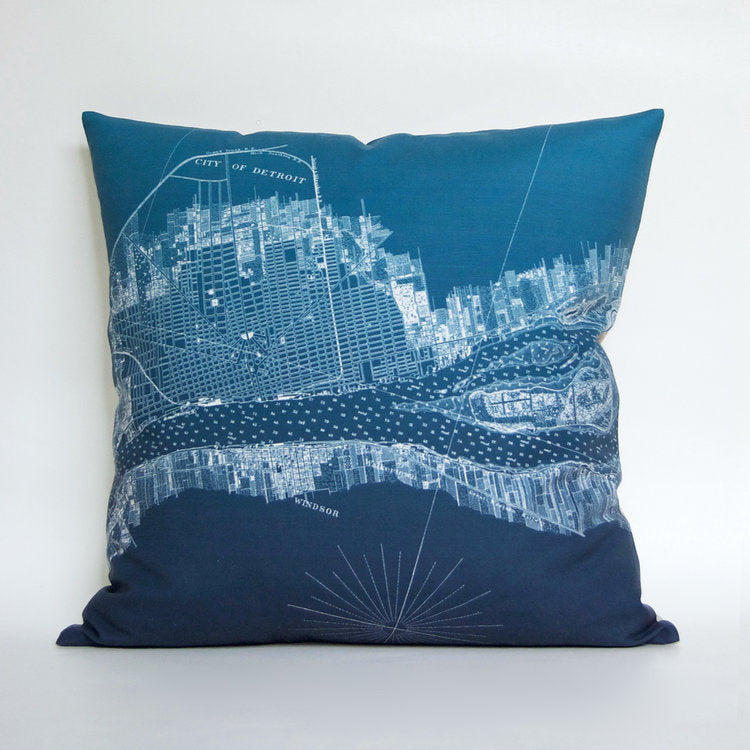 "Hand-Made 18"" x 18"" Dark Teal Detroit + Belle Isle Pillow - Pure Detroit"