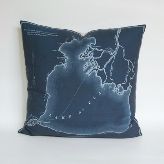 "Hand-Made 18"" x 18"" Dark Teal Lake St. Clair Pillow - Pure Detroit"