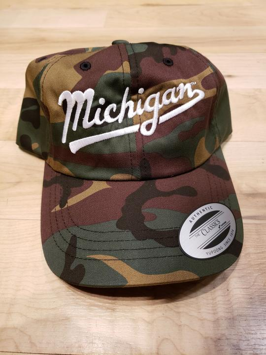 Michigan Script Classic Adjustable Hat / White + Camo - Pure Detroit