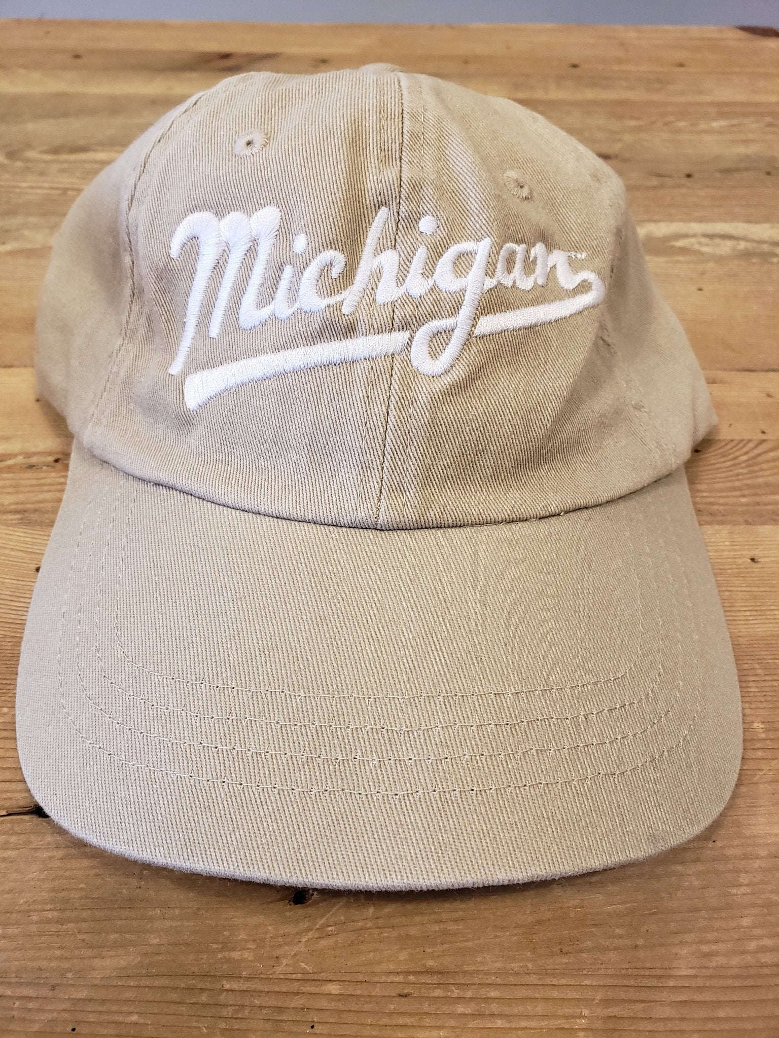 Michigan Script Classic Adjustable Hat / White + Beige - Pure Detroit