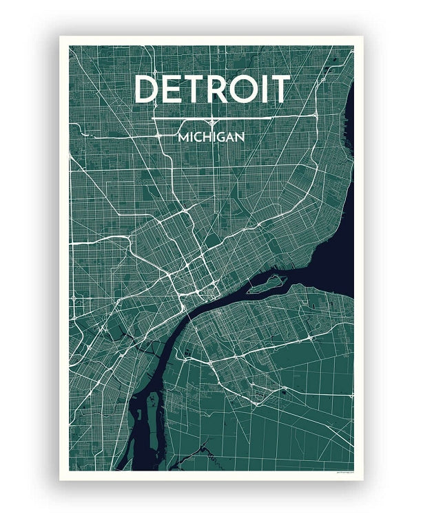"12"" x 18"" Detroit City Map Print - Jewel"