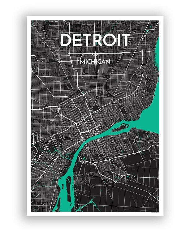 "12"" x 18"" Detroit City Map Print - Black"