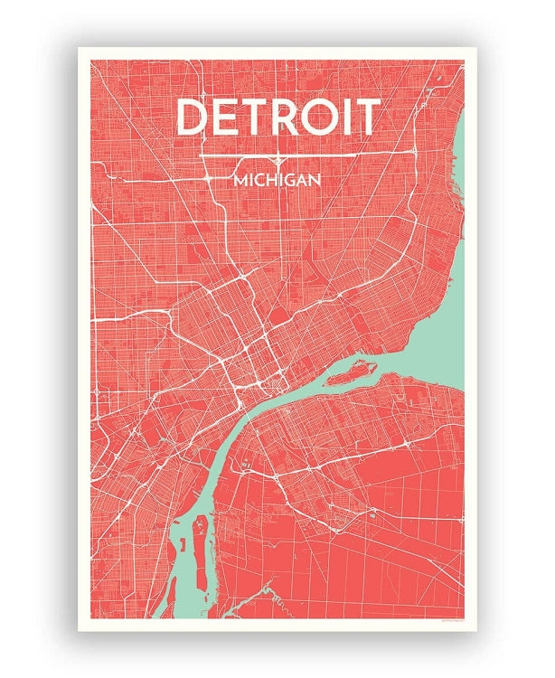 "12"" x 18"" Detroit City Map Print - Sienna - Pure Detroit"