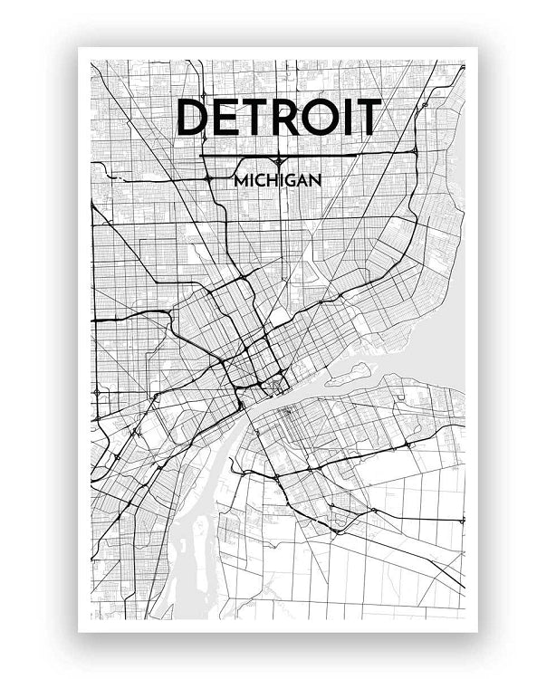 "12"" x 18"" Detroit City Map Print - White + Black - Pure Detroit"
