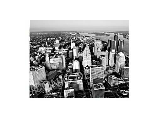 Detroit Aerial Skyline Black and White Luster or Canvas Print $35 - $430