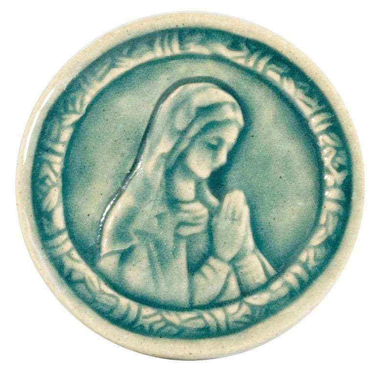 "3"" Round Blessed Mary Pewabic Tile - Glacier Gloss"