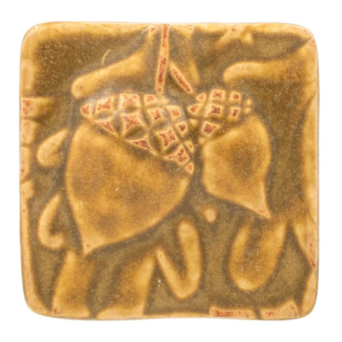 3x3 Acorn Pewabic Tile - Wheat