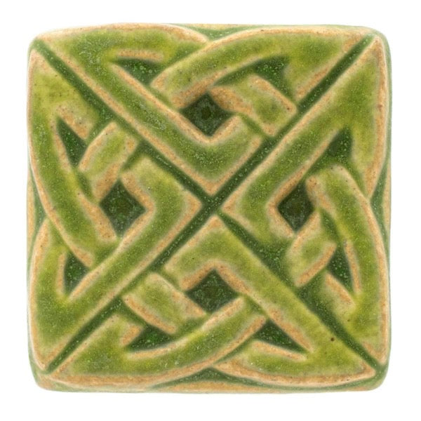 3x3 Eternity Knot Pewabic Tile - Lime - Pure Detroit