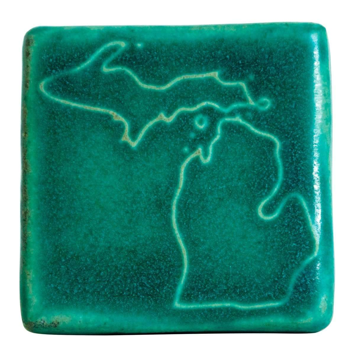 3x3 Michigan Pewabic Tile - Pewabic Blue