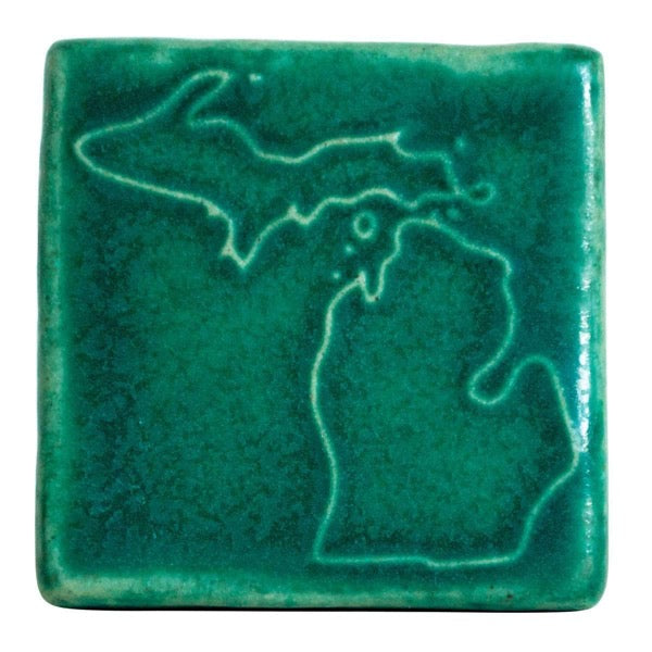 3x3 Michigan Pewabic Tile - Pewabic Green - Pure Detroit