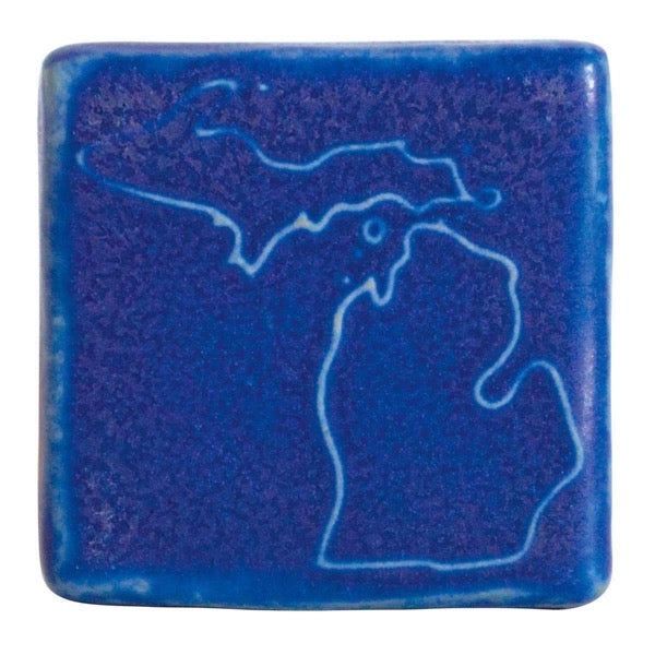 3x3 Michigan Pewabic Tile - Cobalt - Pure Detroit