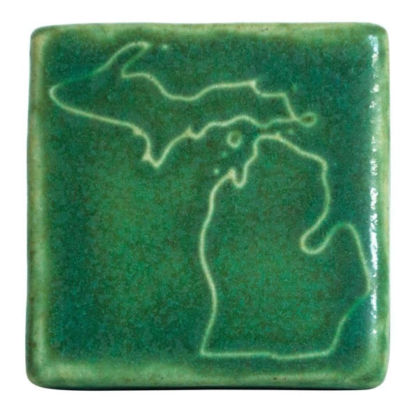 3x3 Michigan Pewabic Tile - Leaf - Pure Detroit