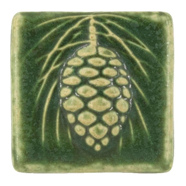 3x3 Pinecone Pewabic Tile - Leaf - Pure Detroit