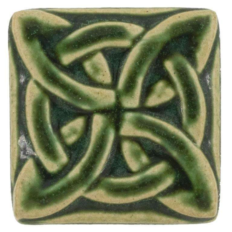 3x3 Lovers Knot Pewabic Tile - Leaf - Pure Detroit