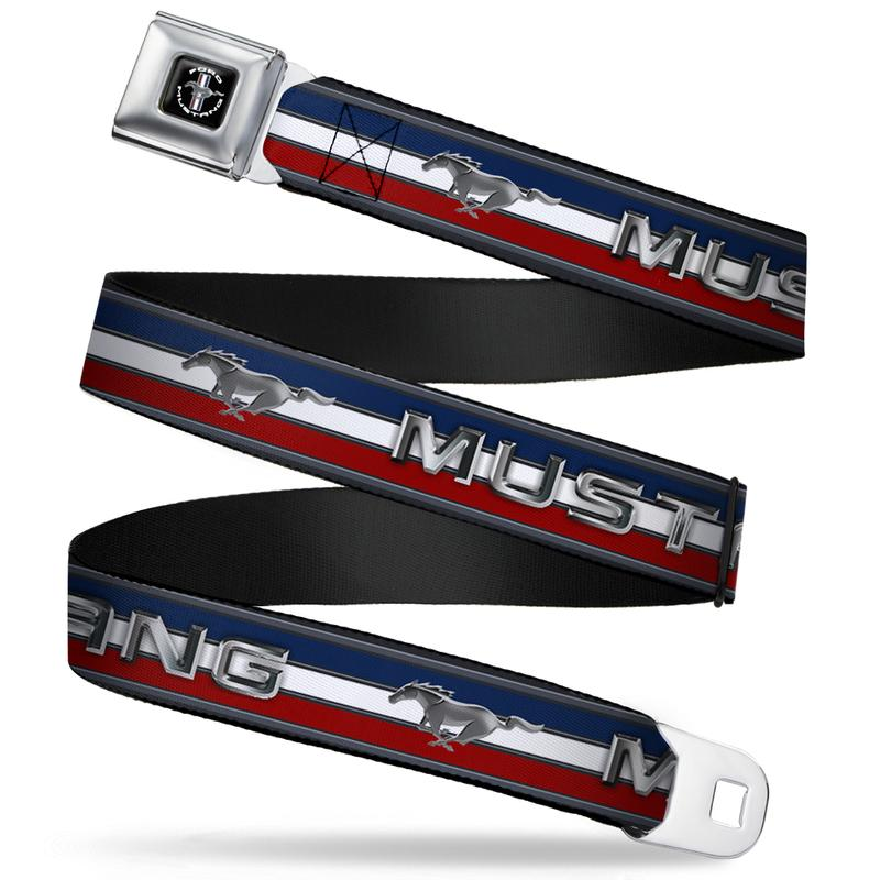Ford Mustang Seatbelt Belt / Color Logo + Color Logo RWB Stripes Webbing
