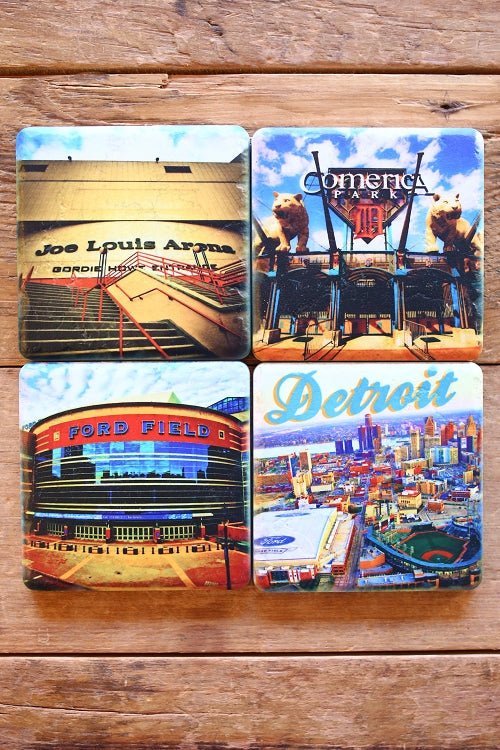 Detroit Sports 4 Pack Porcelain Tile Coasters