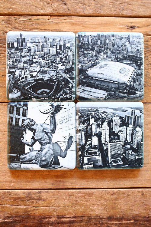 Spirit of Detroit 4 Pack Porcelain Tile Coasters