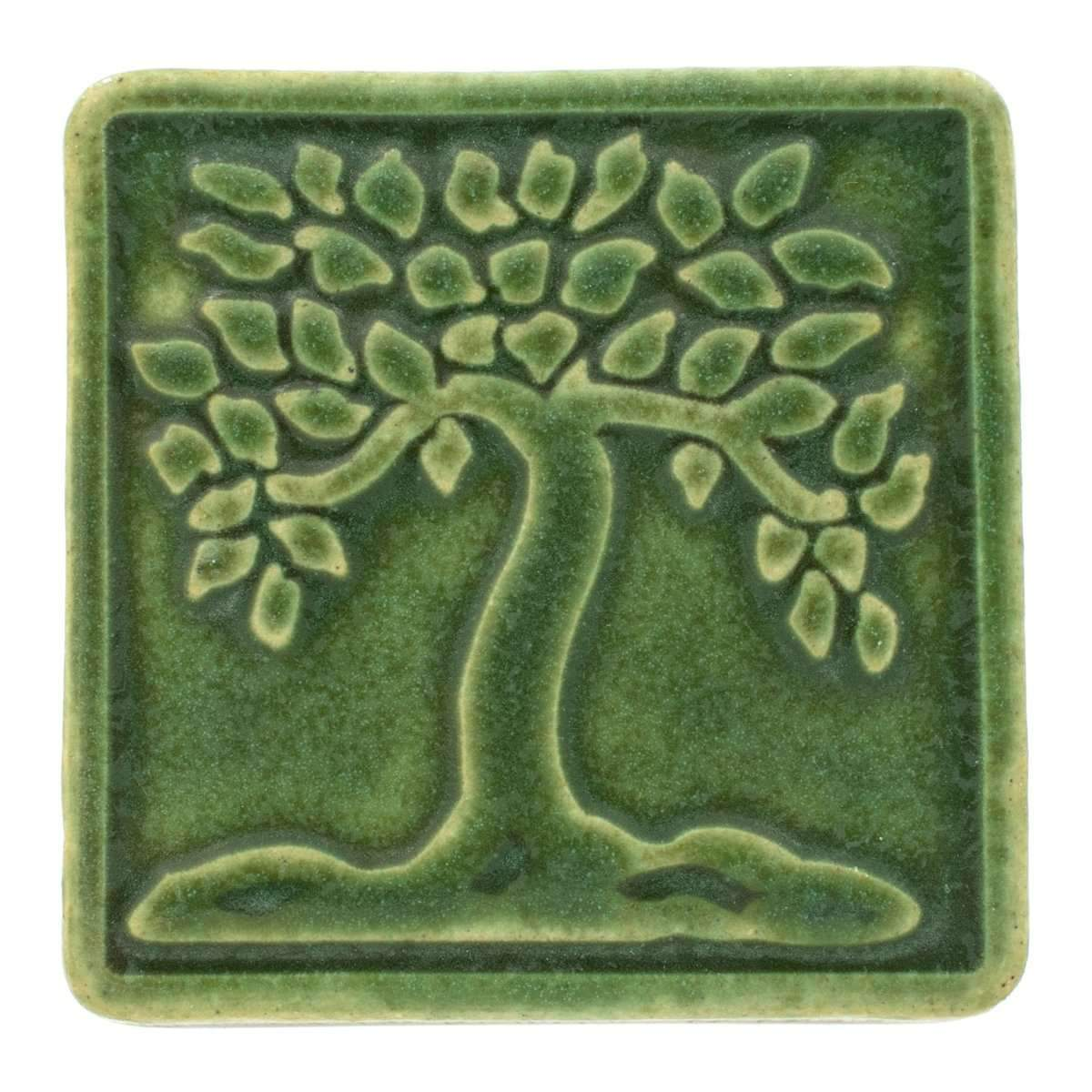 4x4 Botanical Tree Pewabic Tile - Leaf - Pure Detroit