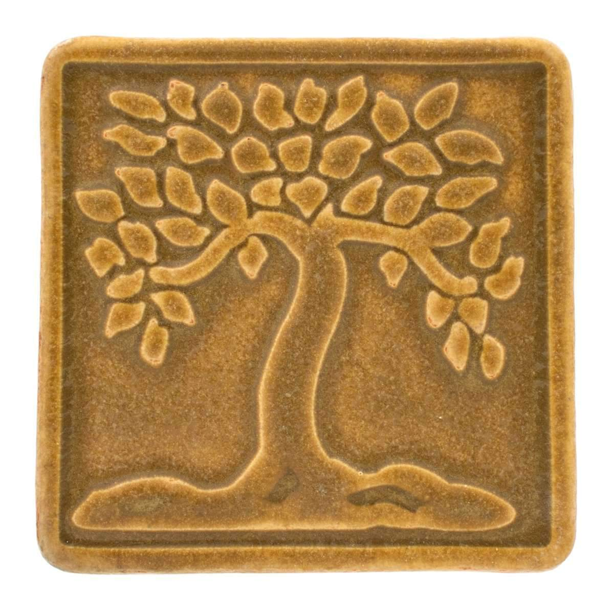 4x4 Botanical Tree Pewabic Tile - Wheat - Pure Detroit