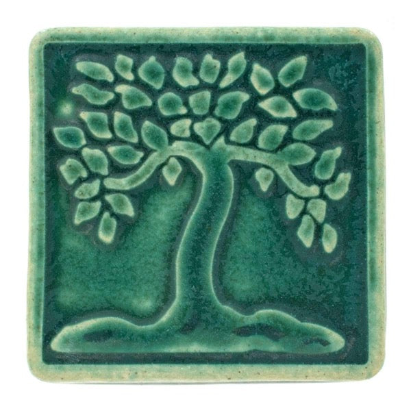 4x4 Botanical Tree Pewabic Tile - Pewabic Green