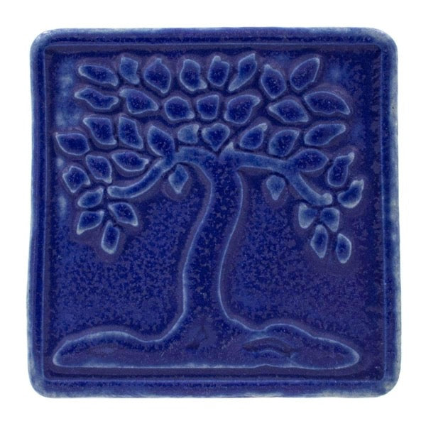 4x4 Botanical Tree Pewabic Tile - Cobalt - Pure Detroit