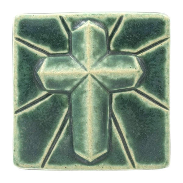 4x4 Mario's Cross Pewabic Tile - Pewabic Green