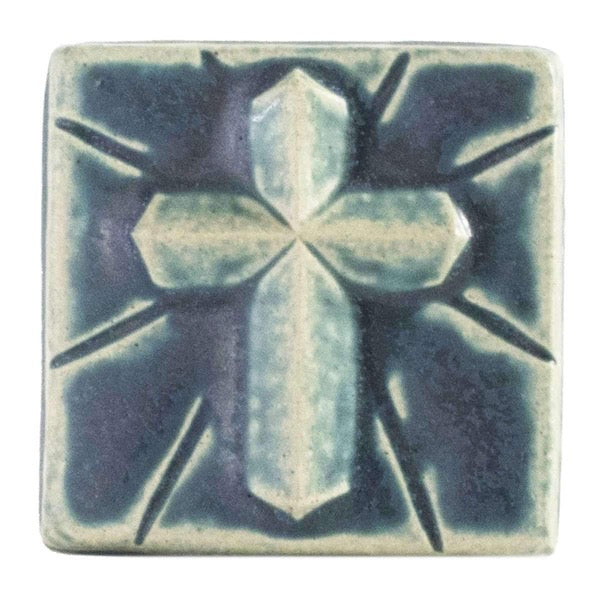 4x4 Mario's Cross Pewabic Tile - Peacock