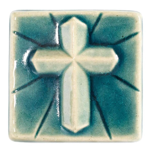 4x4 Mario's Cross Pewabic Tile - Glacier Gloss - Pure Detroit