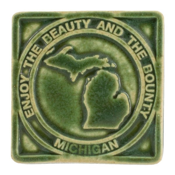4x4 Beauty & Bounty Michigan Pewabic Tile - Leaf