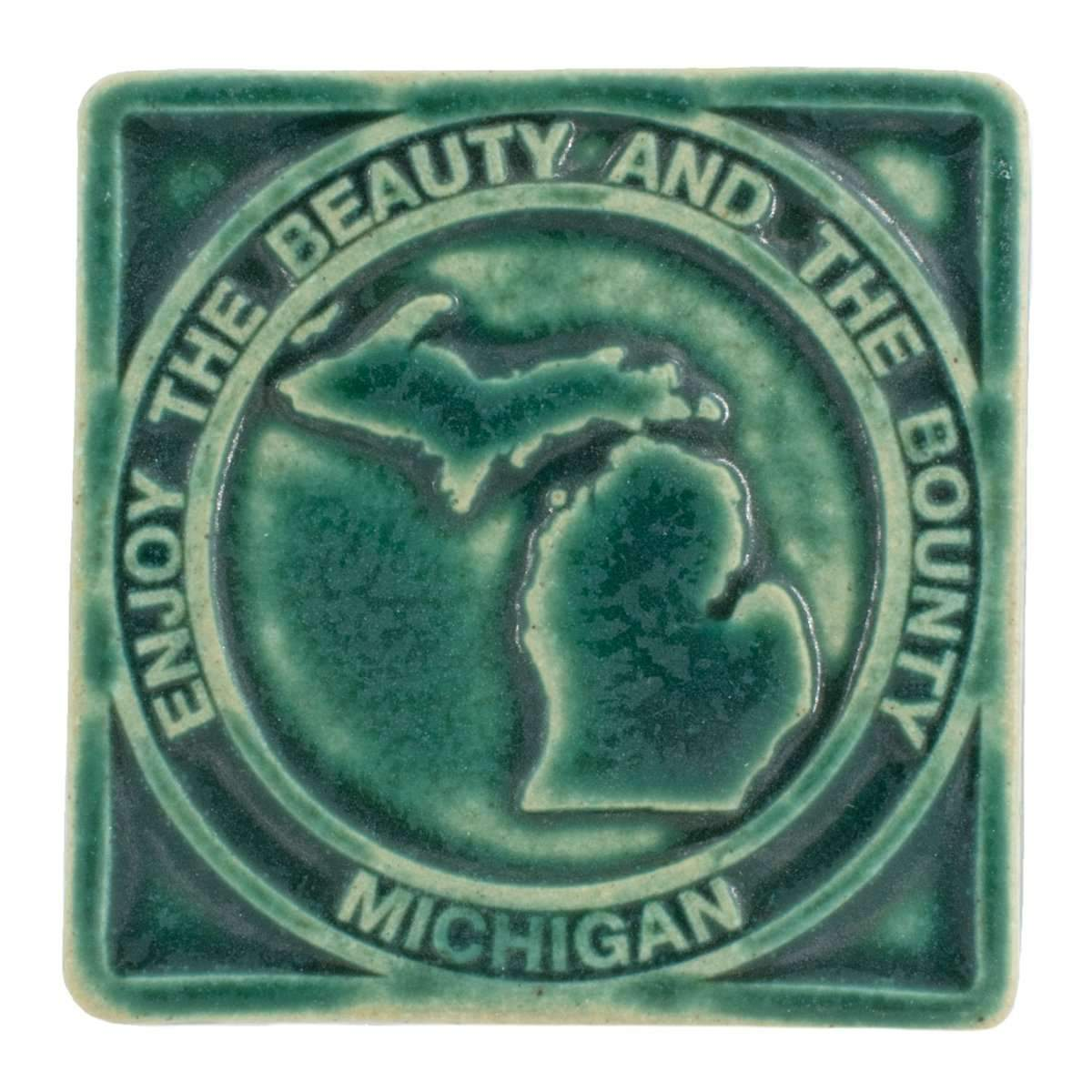 4x4 Beauty & Bounty Michigan Pewabic Tile - Pewabic Green - Pure Detroit